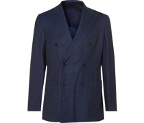 Unstructured Double-Breasted Wool, Silk and Linen-Blend Denim Blazer