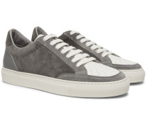 Suede And Grained-leather Sneakers