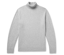 Ribbed Mélange Wool and Cashmere-Blend Rollneck Sweater