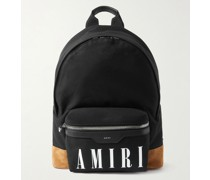 Logo-Print Suede and Leather-Trimmed Cotton-Canvas Backpack