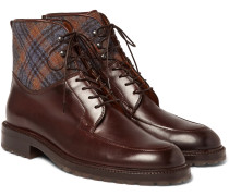 Checked Felt-panelled Leather Boots