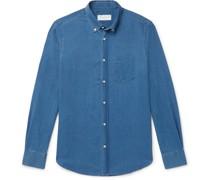 Antime Slim-Fit Button-Down Collar Herringbone Denim Shirt