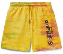 Logo-Print Tie-Dyed Cotton-Jersey Shorts