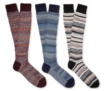 Three-pack Patterned Cotton-blend Socks