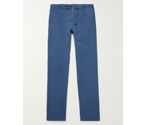 Tanker Garment-Dyed Cotton and Linen-Blend Drawstring Trousers