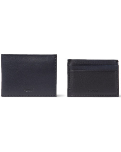 Textured-leather Billfold Wallet And Cardholder Set