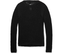 Slim-fit Open-knit Cotton-blend Sweater