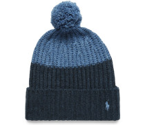 Color-block Knitted Bobble Hat