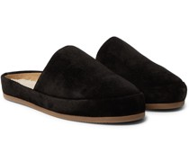 Shearling-Lined Suede Slippers