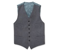 Conrad Checked Wool and Satin Waistcoat