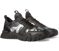 Valentino Garavani Rockrunner Plus Camouflage-Print Rubber, Suede and Canvas Sneakers