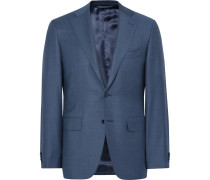 Blue Slim-fit Water-resistant Birdseye Wool Suit Jacket