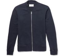 Leather Elbow Patchcotton-jersey Zip-up Sweatshirt