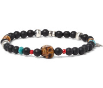 Sterling Silver, Turquoise And Tiger's Eye Bracelet