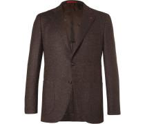 Brown Slim-fit Mélange Herringbone Wool And Cashmere-blend Blazer