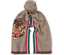 Appliquéd Fringed Wool And Cashmere-blend Scarf