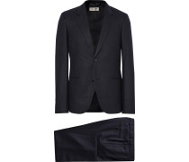 Midnight-blue Slim-fit Pinstriped Wool-flannel Suit
