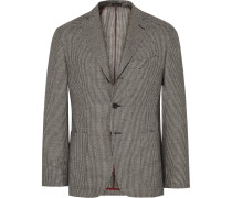 Grey Slim-fit Houndstooth Wool Blazer