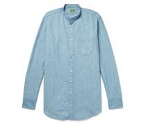 Grandad-Collar Cotton-Chambray Shirt