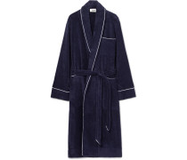 Altman Contrast-tipped Cotton-terry Robe