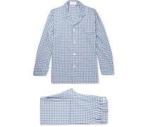 Gingham Brushed Cotton-twill Pyjama Set