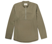 Mandarin-collar Cotton-twill And Jersey Half-zip Shirt