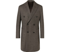 Double-Breasted Herringbone Wool Coat