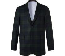 Navy Slim-fit Black Watch Checked Wool-blend Blazer
