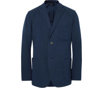 Blue Unstructured Cotton Blazer