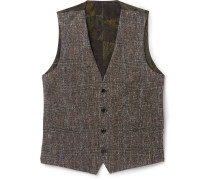 Silk-panelled Checked Wool-blend Waistcoat