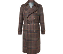 Prince Of Wales Checked Wool And Cashmere-blend Trench Coat