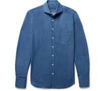 Slim-fit Cutaway-collar Cotton-chambray Shirt