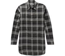Oversized Checked Herringbone Cotton-blend Shirt