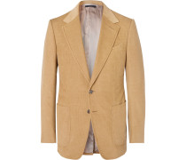 Camel Shelton Slim-Fit Cotton and Linen-Blend Corduroy Blazer