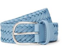 3.5cm Light-blue Woven Leather Belt