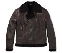 Shearling-lined Leather Biker Jacket