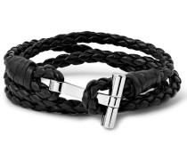 Woven Leather And Palladium-plated Wrap Bracelet