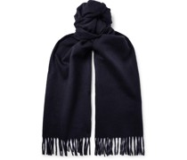 Fringed Two-Tone Double-Faced Cashmere Scarf