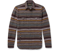 Slim-fit Striped Cotton-blend Western Overshirt