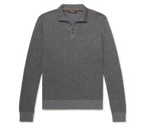 Slim-Fit Ribbed Silk, Cashmere and Linen-Blend Half-Zip Sweater