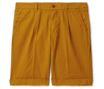 Slim-Fit Pleated Cotton-Twill Chino Shorts