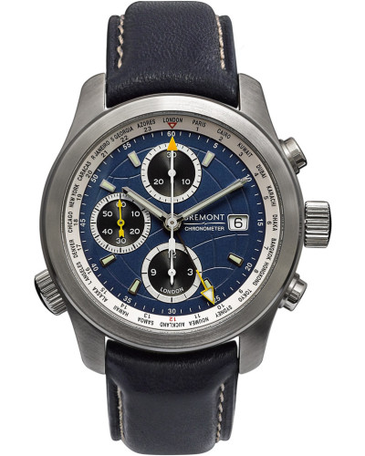 Alt1-wt/bl World Timer Automatic Chronograph 43mm Stainless Steel And Leather Watch - Blue