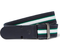 3cm Navy Leather-trimmed Striped Canvas Belt
