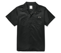 Irving Camp-collar Embroidered Satin-twill Shirt