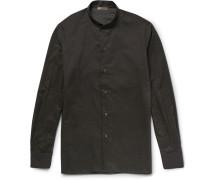 Slim-fit Grandad-collar Floral-print Cotton Shirt