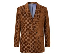 Brown Double-Breasted Logo-Embroidered Velvet Tuxedo Jacket