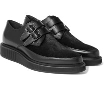 Buckled Calf Hair-panelled Leather Derby Shoes
