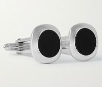 Rhodium-Plated Onyx Cufflinks