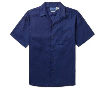 Camp-Collar Indigo-Dyed Linen Shirt