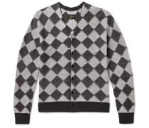 Checked Intarsia Wool Cardigan